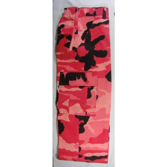 calça infantil camuflado rosa