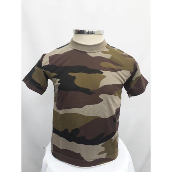Camiseta Infantil camuflado marrom frente