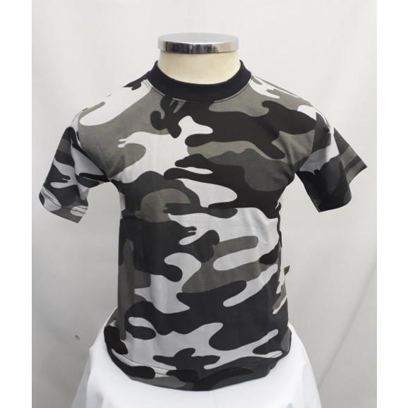 Camiseta Infantil Camuflado cinza frente