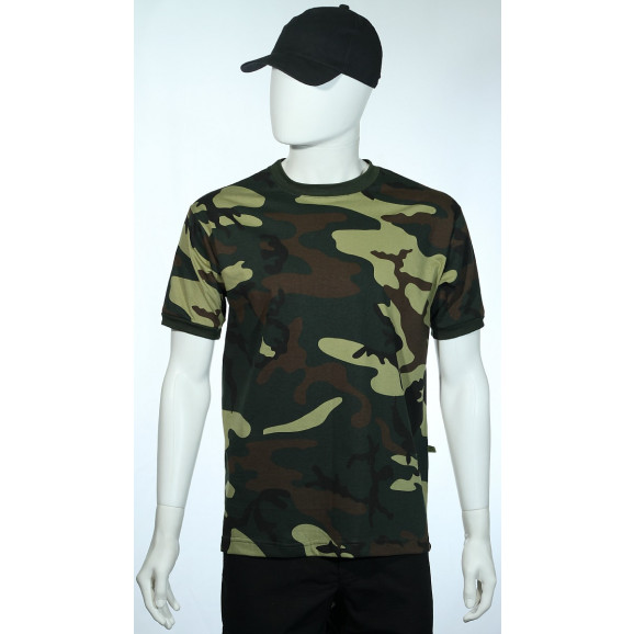 camiseta camuflado verde manga curta lado