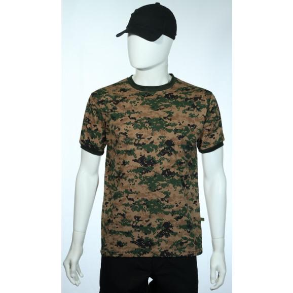 camiseta camuflado digital marpat woodland manga curta frente