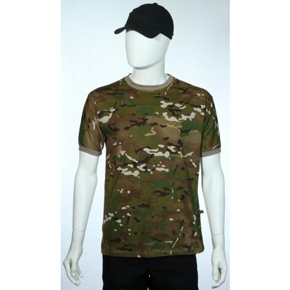 camiseta camuflado multicam manga curta frente