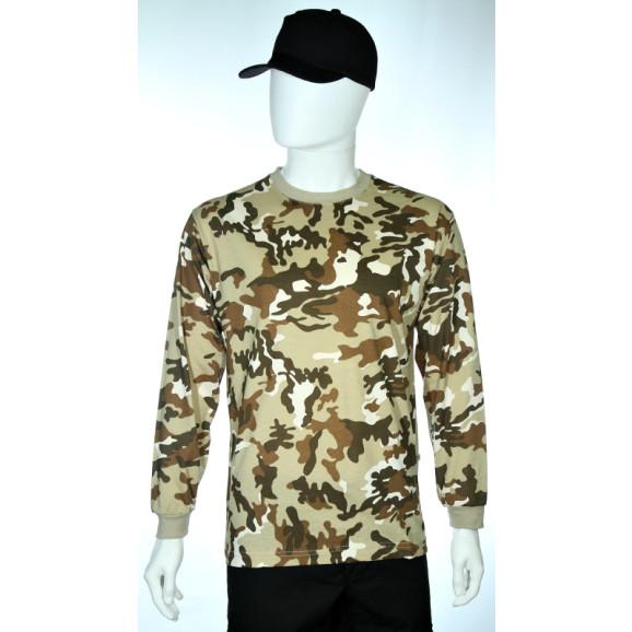 camiseta camuflado deserto manga longa frente