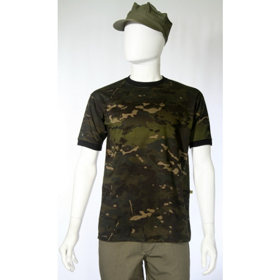 camiseta camuflado multicam black manga curta frente