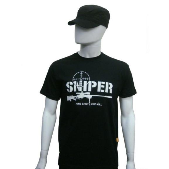 camiseta sniper preta manga curta frente