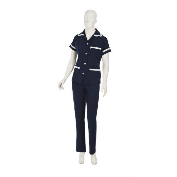 Uniforme De Copeira Azul Marinho Com Bordado Inglês Branco