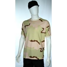 camiseta camuflado deserto tricolor manga curta frente
