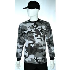 camiseta camuflado cinza manga longa lateral